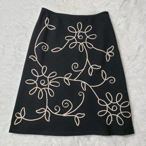 Ann Taylor LOFT Black Floral Embroidered  Skirt